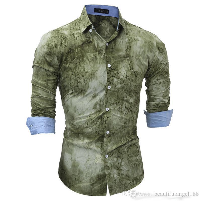 Compre Nueva Llegada Hombre Moda Camisa Patrón Diseño Manga Larga Estampado  Slim Fit Hombres Camisa Casual Camisa De Vestir De Hombre A  17.26 Del ... cd2bac520c7bf