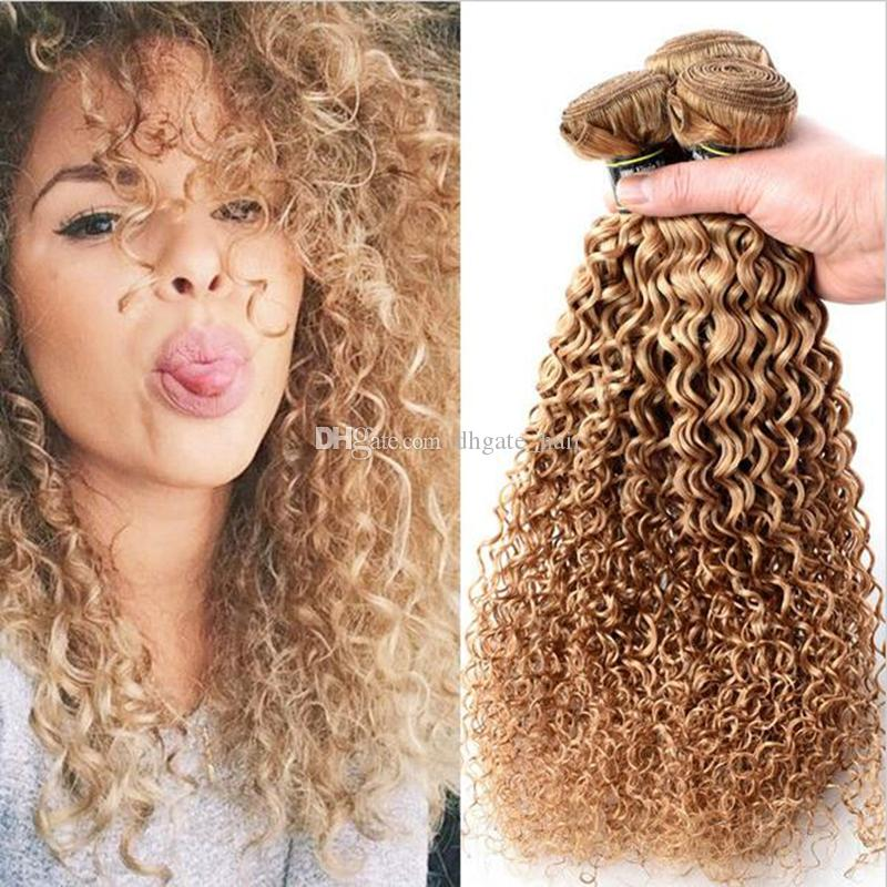 Brazilian Blonde Curly Hair Extensions Honey Blonde Remy Human Hair