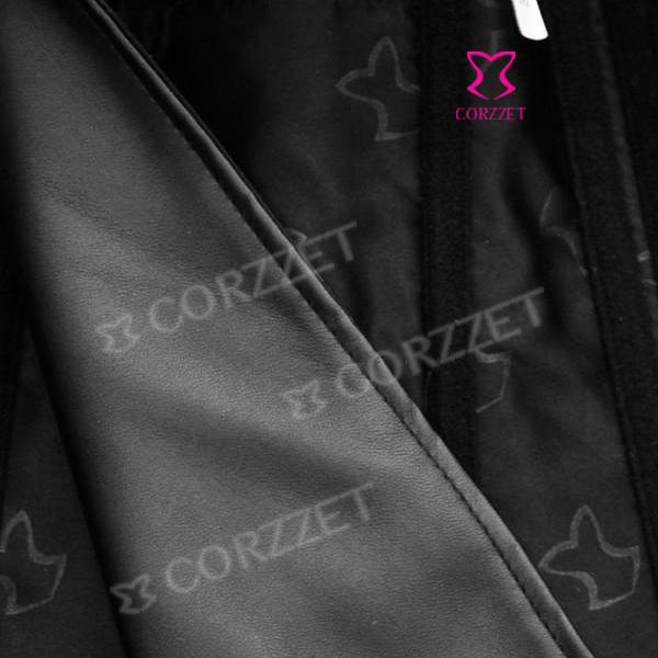 Donna Nero Faux Leather Zipper Front Lace Up Back Halter Neck Overbust Gotico Bustiers Corsetti Vita Shaper corpo con colletto
