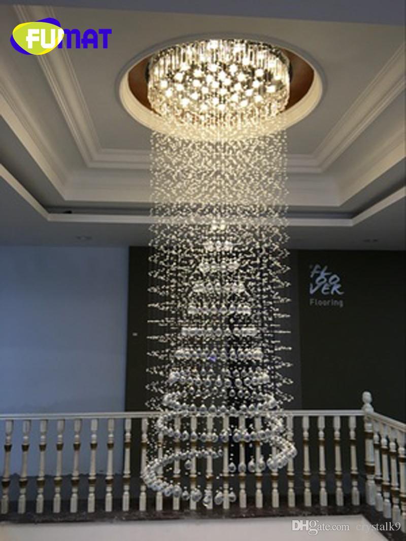 FUMAT Luxury Large Crystal Lámpara de Interior Simple Creativo moderno colgante de luz para Penthouse Floor Hall Forma Circular Bombillas LED
