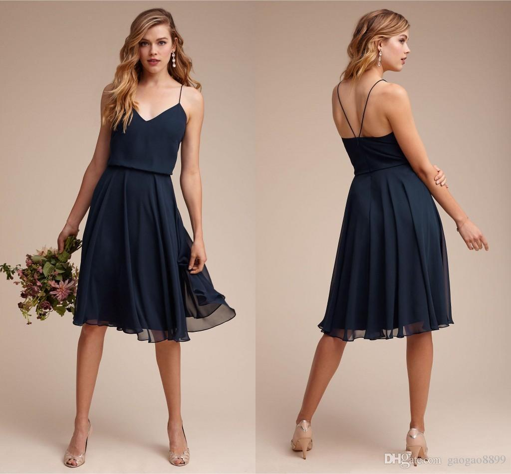 Elegant Navy Blue Chiffon Cocktail Dresses Spaghetti Strap Criss ...