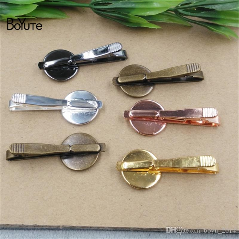 BoYuTe Plated Round 16MM 18MM 20MM Cabochon Base Diy Tie Clip Blank Tray Bezel Jewelry Findings ComponentsGBR