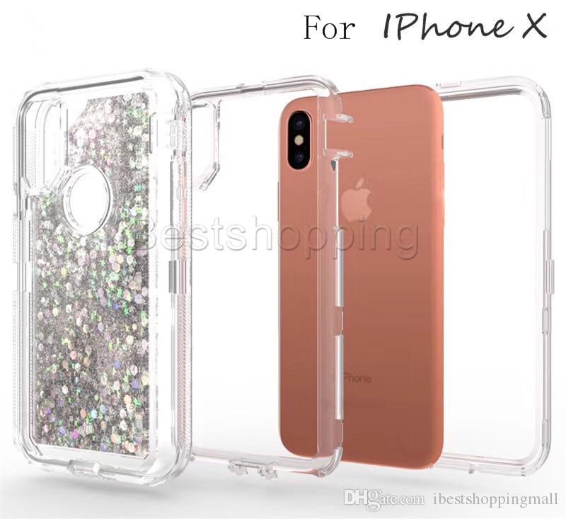 3 в 1 Мода Блеск Жидкое Quicksand чехол Кристалл Обложка для iPhone 11 Pro X макс ХГ Xs Max 8 Plus Samsung S20 S10 Plus Примечание 9 S8 S9 Plus