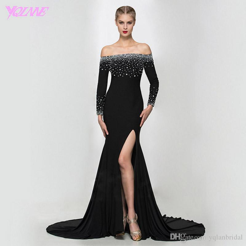 Fashion Black Full Sleeve Prom Dresses Party Evening Gown Mermaid ...