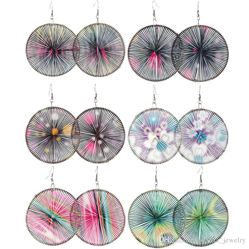 Thread boucles d'oreilles cercle Mix 6 Styles Multi-Color Dot fleur impression gros lots crochet mignon Dangle Handcraft femmes filles Eardrop Hot (JT002)