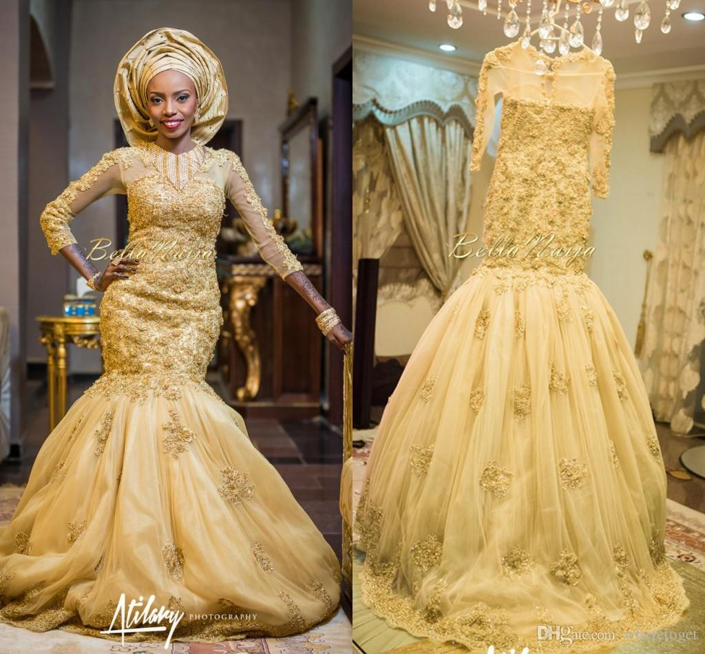 2016 Gold African Traditional Lace Wedding Gowns Beaded