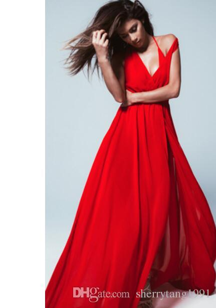 7b57606bcc5 New Dresses Vestido Long Women Sexy Nice Dress Transparent Beach Red White  Long Dress Beach Style Elegant Prom Evening Dress V Neck Line Cute Dress  For ...