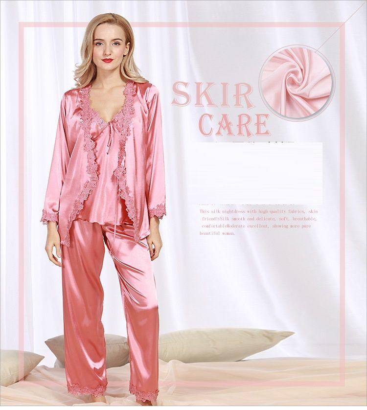 cb466bafee Pajama Sets Pyjamas Women Sleepwear Female Girls Pajamas Woman Sexy Lingerie  Nightdress Satin Nightgown Long Sleeve SJYT57 Satin Nightgowns Sleepwear  Female ...