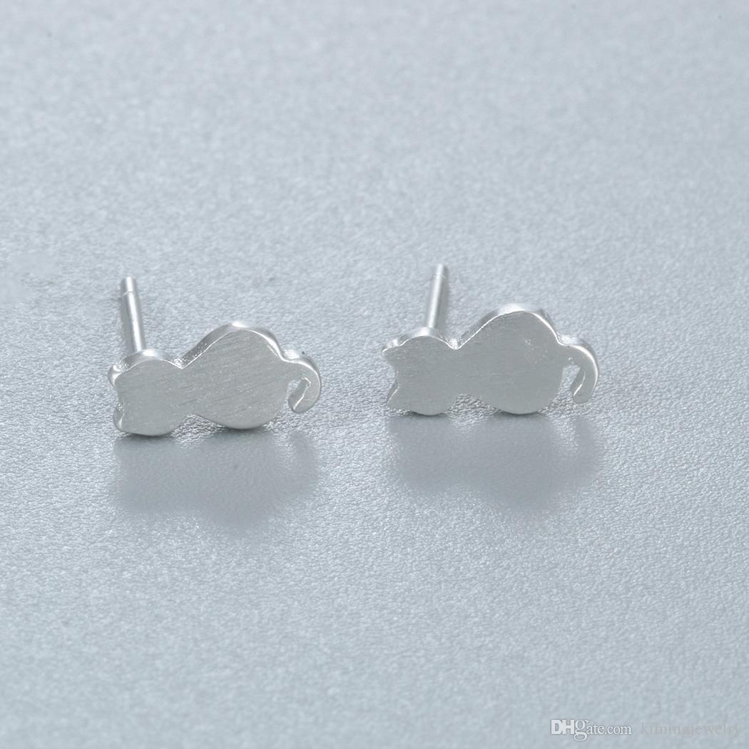 925 Sterling Silver Cute Cat Earrings For Women Girl Lovely Kitty Stud Earrings Hypoallergenic Sterling-silver-jewelry