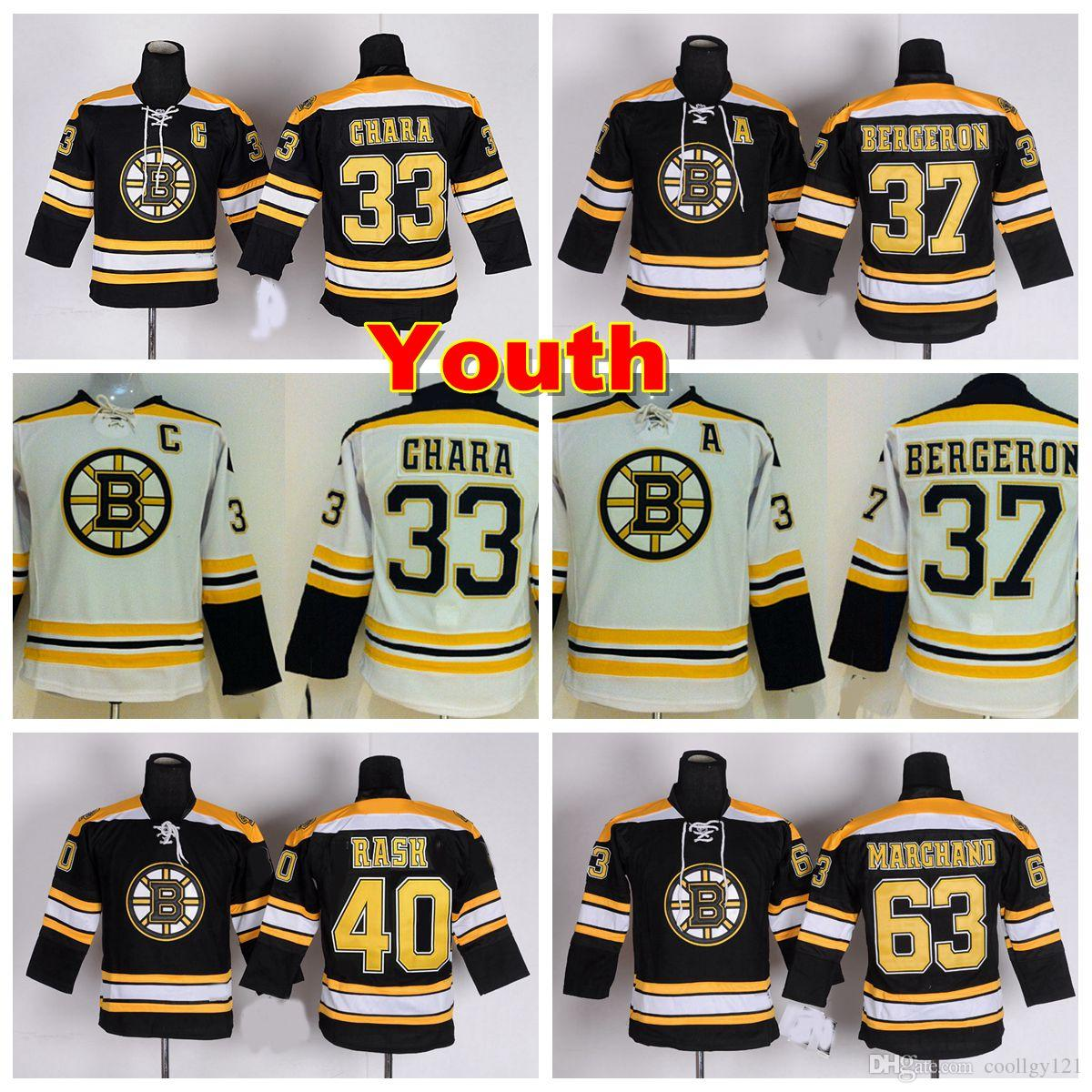 Youth Boston Bruins Jerseys Kids 37 Patrice Bergeron 33 Zdeno Chara ... e54cdbc0daf