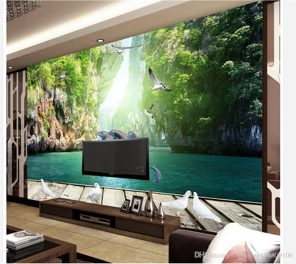 Delfino fresco che gioca acqua legno Guilin paesaggio 3d sfondo muro tappezzeria pareti 3 d soggiorno