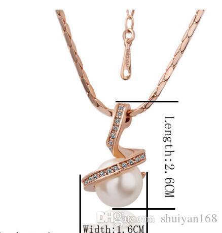 Set regalo di Natale dei monili e collana pendente della perla placcata oro 18K e argento cristallo placcato Strass Orecchini Donne nuziale