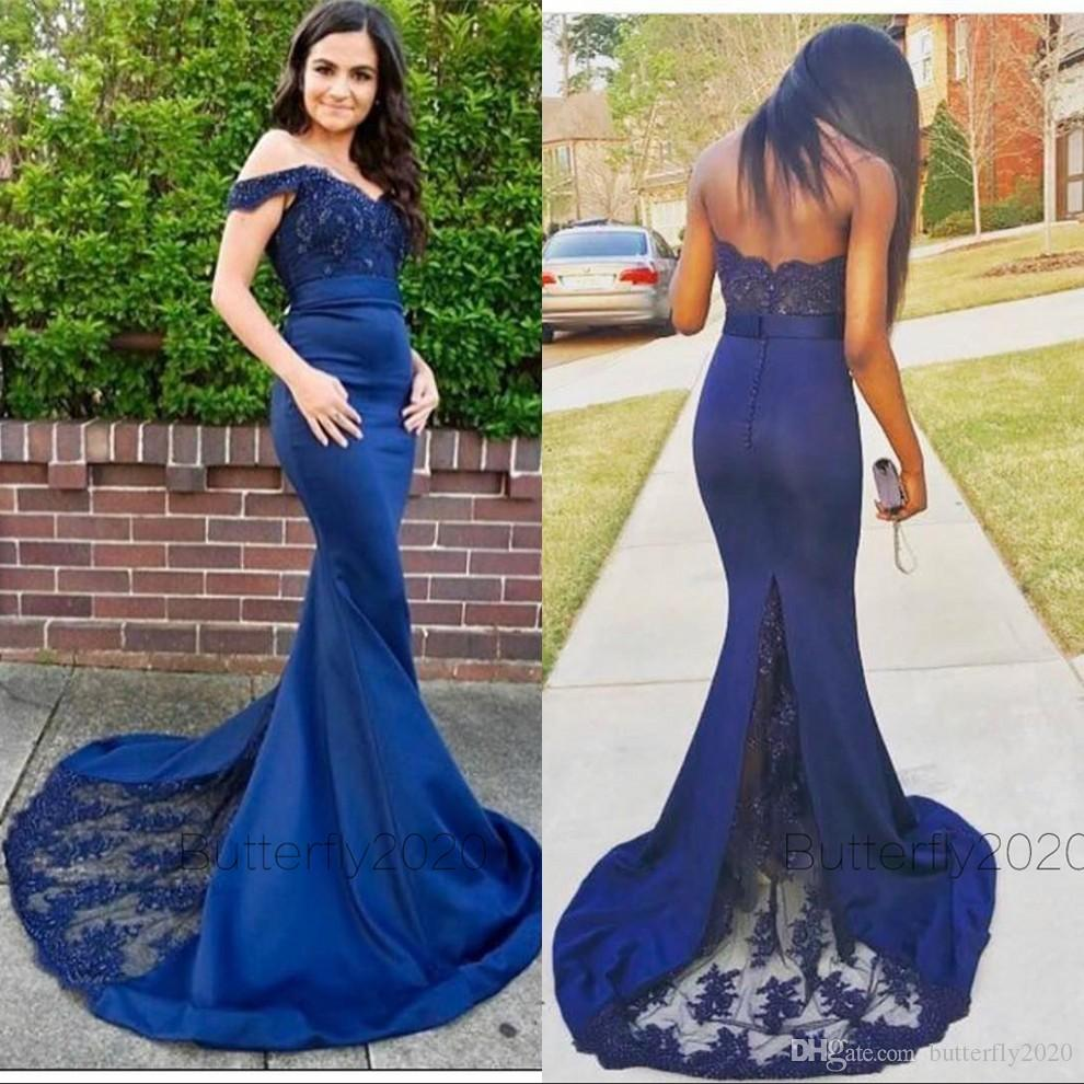 Sexy Long Off The Shoulder Royal Blue Bridesmaid Dresses Mermaid