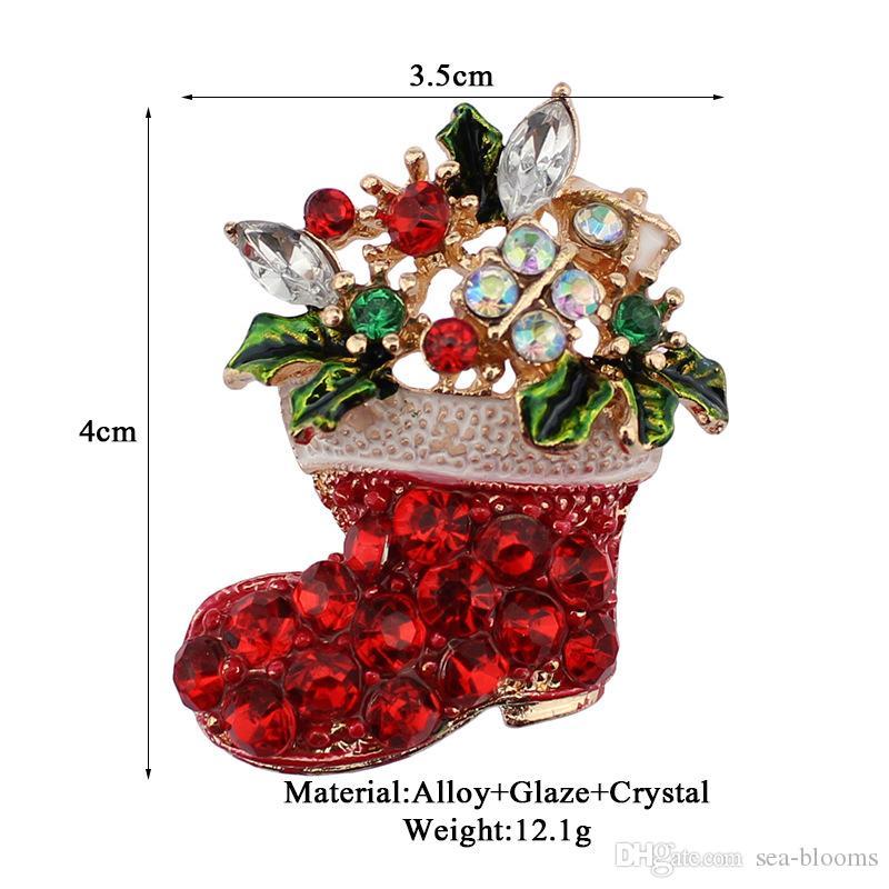 Weihnachten Thema Brosche Pin Geschenk schöne bunte Metall Weihnachten Brosche Pin Set Weihnachtsbaum Broschen in loser Schüttung B329S
