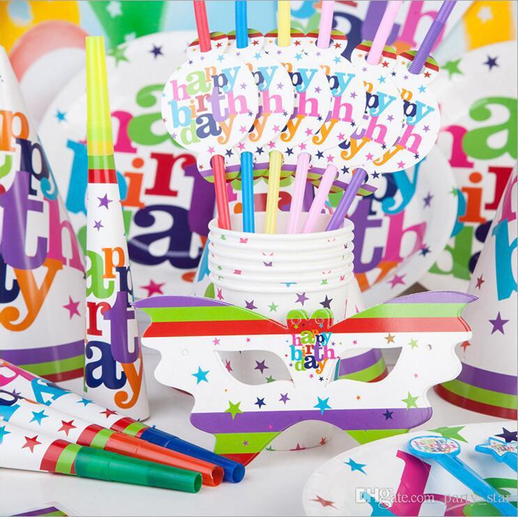 Grosshandel Erwachsene Kinder Glucklich Geburtstag Thema Party Requisiten Mit Maske Tasse Tischtuch Kappe Gerauschhersteller Flagge Dekorationen