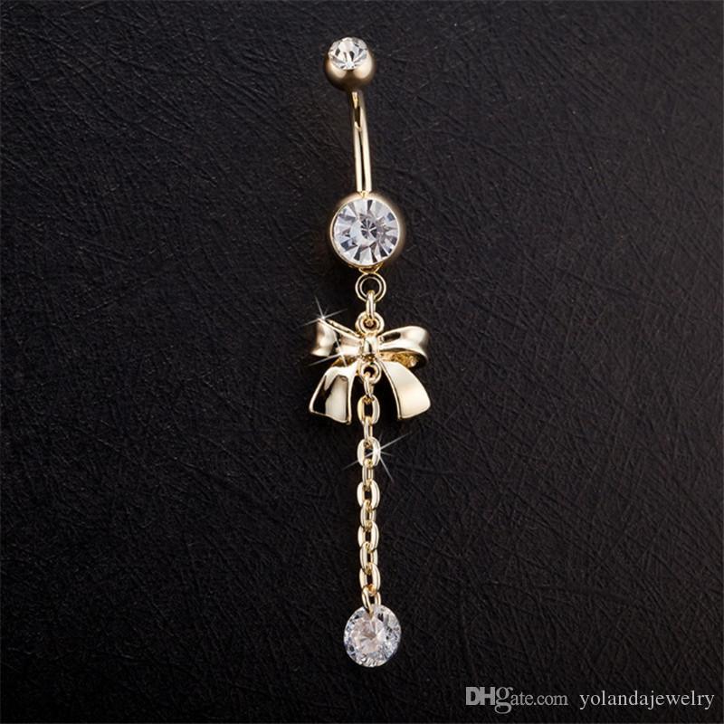 Бантом 18k позолоченный пупок цепи цирконий кольцо Перкинг живота ювелирные изделия тела пирсинг пупка кольца
