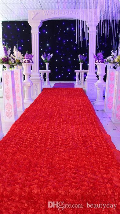 Fondo de decoraciones de mesa de boda Favores de boda 3D Alfombra de pétalos de rosa Pasillo Pasillo para suministros de decoración de banquetes de boda es