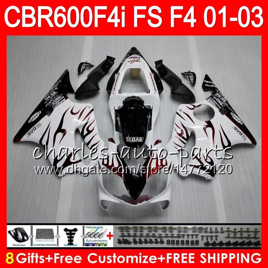 8Gifts HONDA CBR 600 F4i 01-03 CBR600FS FS 28HM10 fiamme rosse CBR600 F4i 2001 2002 2003 CBR 600F4i CBR600F4i 01 02 03 Carenatura