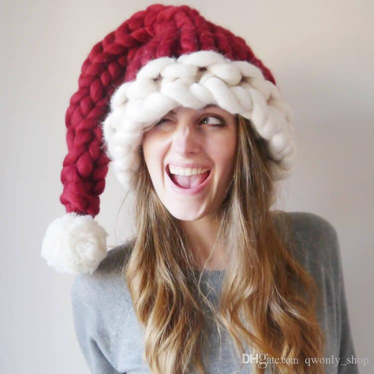 Adults Children Thick Line Knitted Christmas Party Hat Pom Poms Red with White Santa Claus Caps Happy New Year Gift