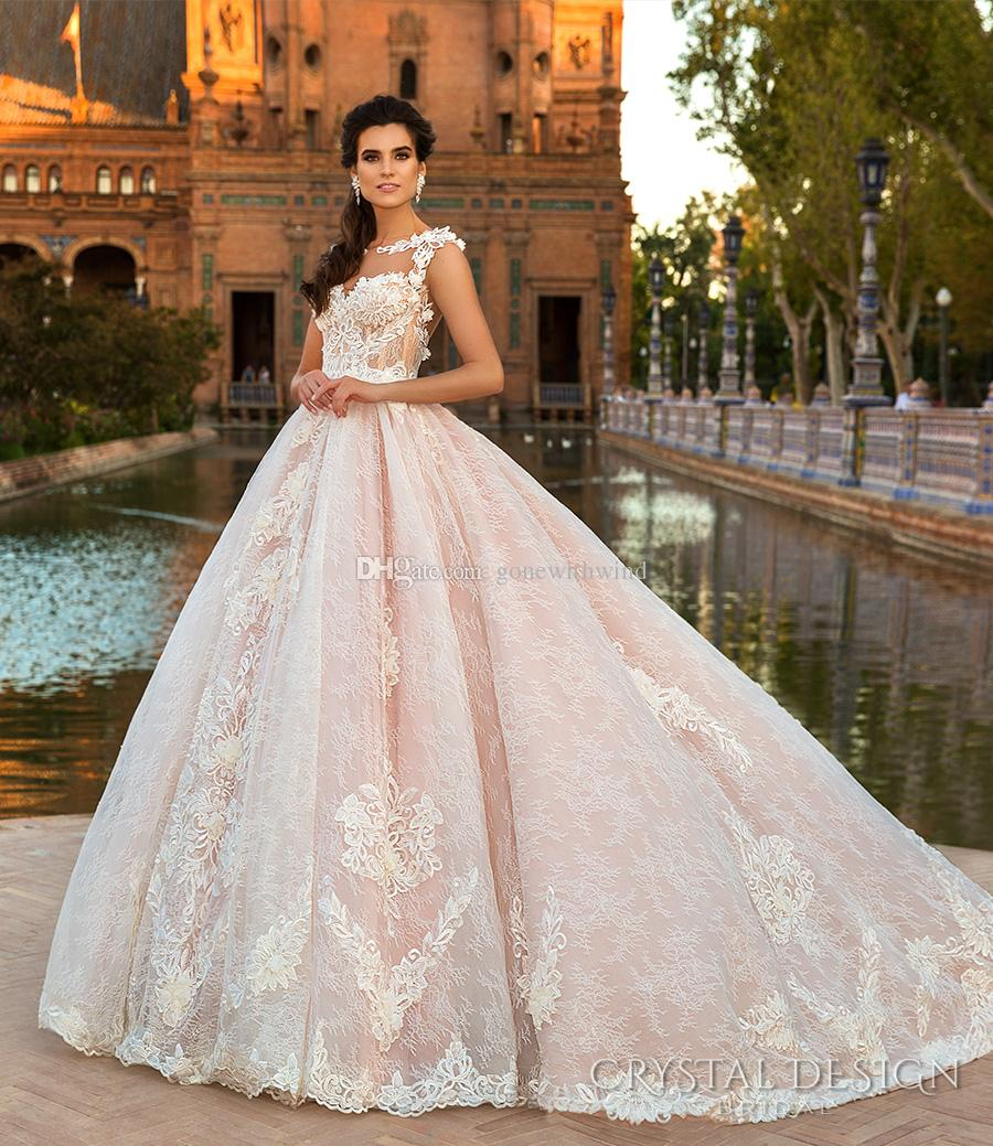 Pink Lace Princess Ball Gown Wedding Dresses 2017 Crystal Design ...