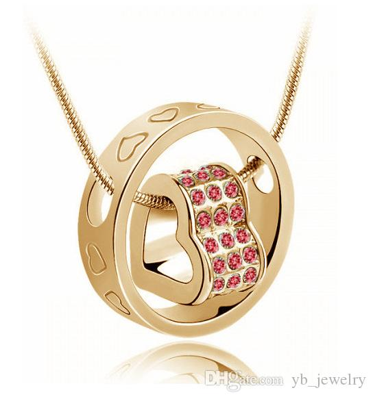 Потрясающие австрийских кристаллов алмазов кулон фортуна любовь кулон ожерелье Мода Классический Женщины Swarovski Elements кристаллические ювелирные изделия