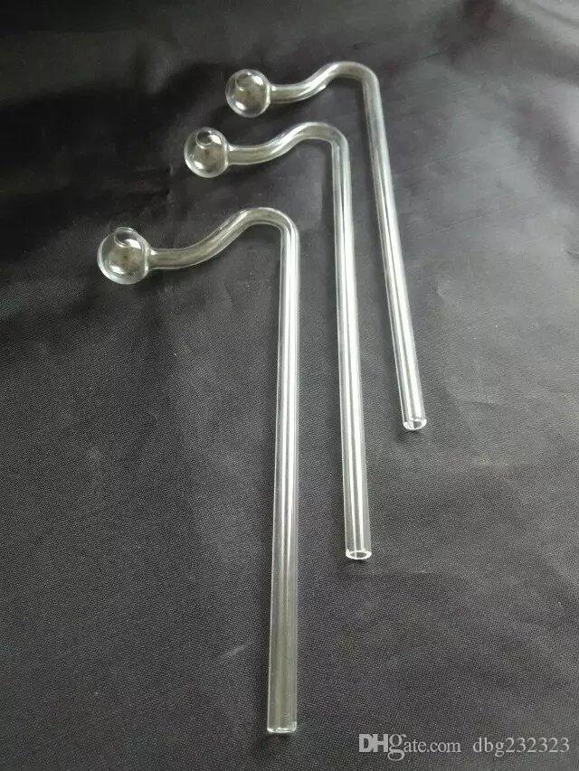 Cristal transparente largo y curvo bongs de vidrio accesorios, tubos de fumar de vidrio, mini colores multi-colores, tubos de mano, mejores glas de cuchara