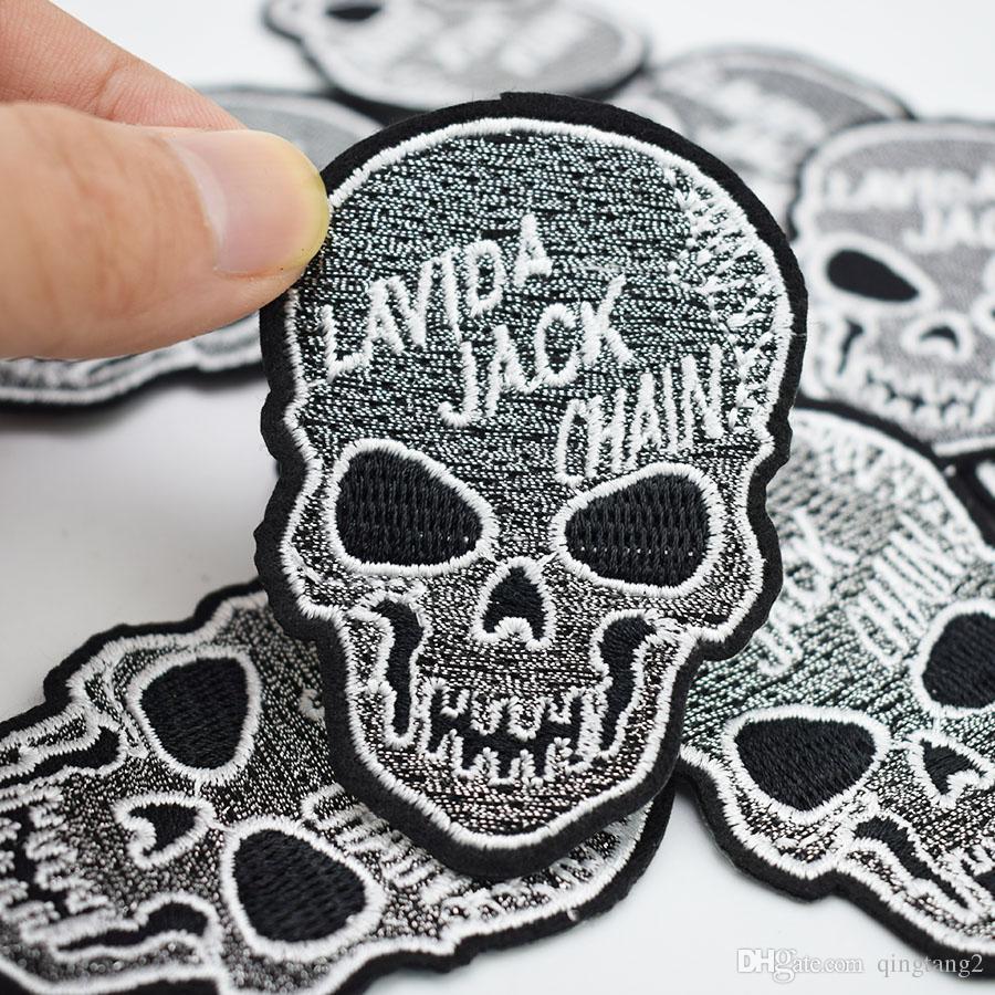 10 pezzi di ricamo teschio patch abbigliamento ferro patch vestiti applique accessori cucire adesivi distintivo su vestiti ferro sulle patch diy