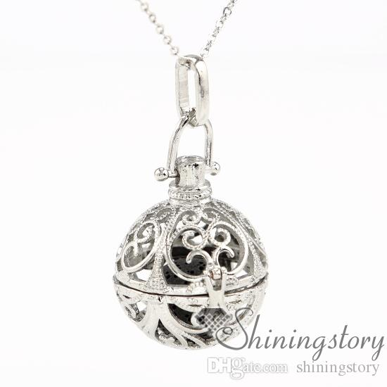 perfume necklace aromatherapy necklace diffuser pendant glass vial necklace metal volcanic stone openwork ball diffuser jewelry wholesale