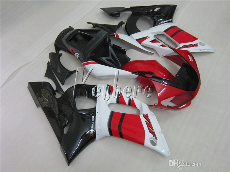 Kit carénage haut de gamme pour Yamaha YZR R6 98 99 00 01 02 kit carénages blanc rouge noir YZFR6 1998-2002 HT14