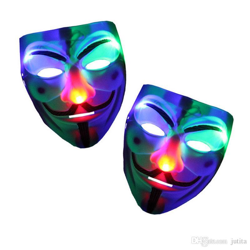 Vendetta için LED Yanıp V Maske Masquerade Parti Maskeleri Light up Fantezi Elbise Fantezi Cosplay Karnaval Kostümleri