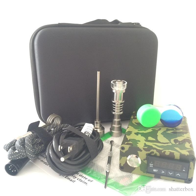 quarzo Enail Kit elettrico dab nail portatile dabber rig titanio e nail tamponando cera vaporizzatore PID box digitale acqua di vetro bong