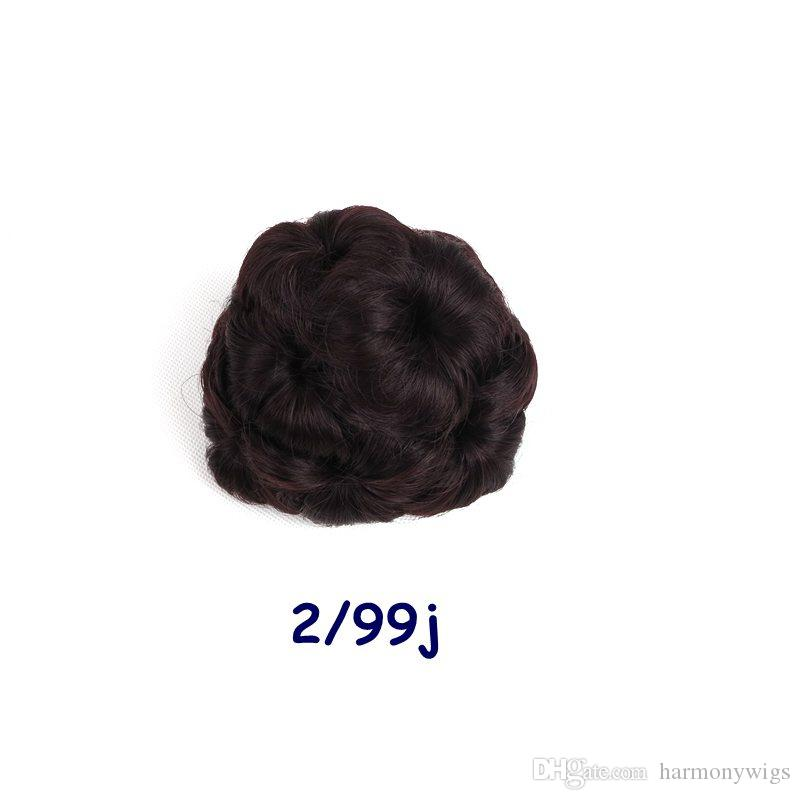 Claw chignon bun 9 hair flowers Hairstyle synthetic hair accessories clip bun Ponytails Holder Optional