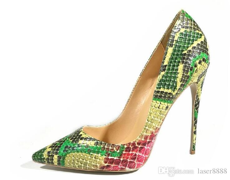 Sole High Green Heels Women Mouth Brand Dress 44 33 Shallow Shoes Snakeskin New Red Pointed Wedding Bottom Thin Heel WrdCoexB