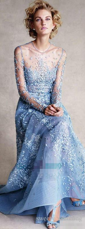 Cinderella In Elie Saab Couture Red Carpet Celebrity Dresses 2017 Modest Sky Blue Lace Pearls Illusion Long Sleeve Formal Prom Evening Gowns
