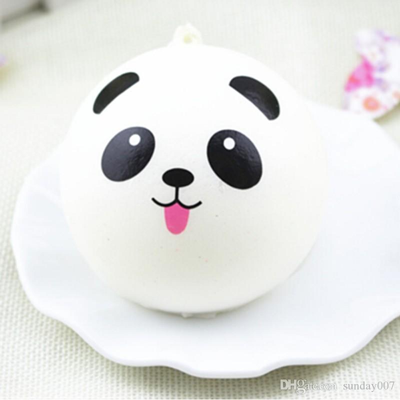 Wholesale Cute Cartoon Face Squishy Buns Panda Charms Bag Key Mobile Phone Straps Pendant 10cm Chain Cellphone Hot Sale