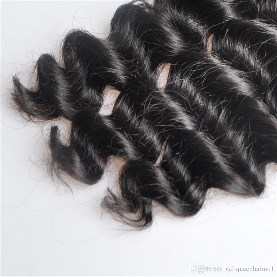 Brezilyalı Gevşek Derin Dalga İnsan Virgin Saç 4x4 Dantel Kapatma ağartılmış Knots 100g / pc Doğal Renk Çift atkıların Saç Uzantıları Olan örgüleri