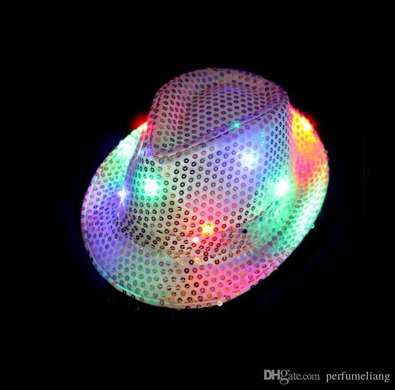 LED Jazz Chapéus Piscando Luz Up Levou Fedora Trilby Lantejoulas Tampas Fancy Dress Dance Party Chapéus homens Festival de Natal Trajes de Carnaval F201783