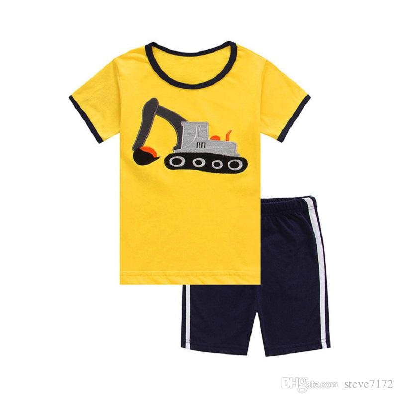 Grey Anchor Boy Clothes Suit Summer Baby Boys T-Shirts Pants Cotton Sailor Outfits Tee Shirt Panties Beach Sport Suits 2-7year Hot Sale