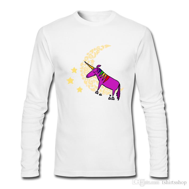 Unique design Men's tee shirts purple unicorn sleeping on moon art shirts long-sleeved crew neck T-shirts