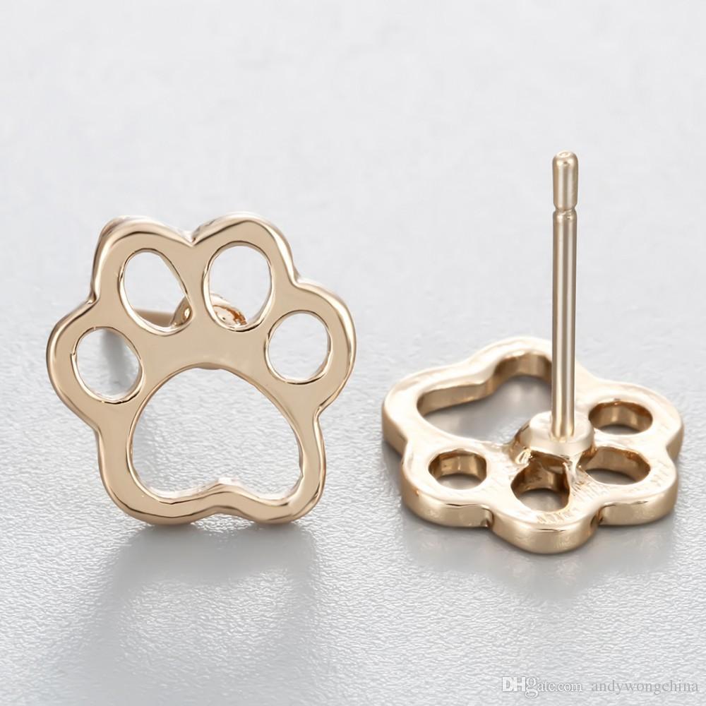Wholesale minimalist Cute Cat Dog Puppy Paw Print Animal Stud Earring Christmas Piercing Party Jewelry Girls Women Pendientes