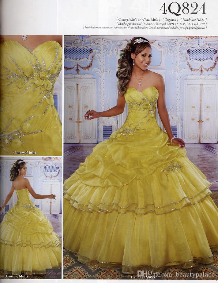 fb2148e65a45 Free Shipping Sweetheart Yellow Ball Gown Sweet 16 Quinceanera Dresses  Floor Length Organza Lace Up Beaded Crystal Prom Girl's Dresses