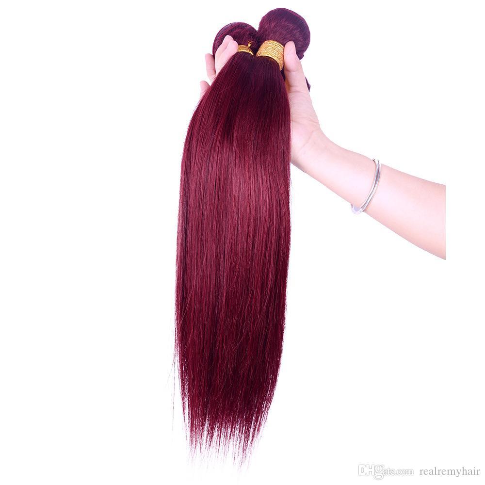 Les meilleurs articles de vente des vins de Bourgogne Couleur Rouge 99j cheveux raides Weave Bundles Brésil Pérou Malaisie Remy Extensions de cheveux humains