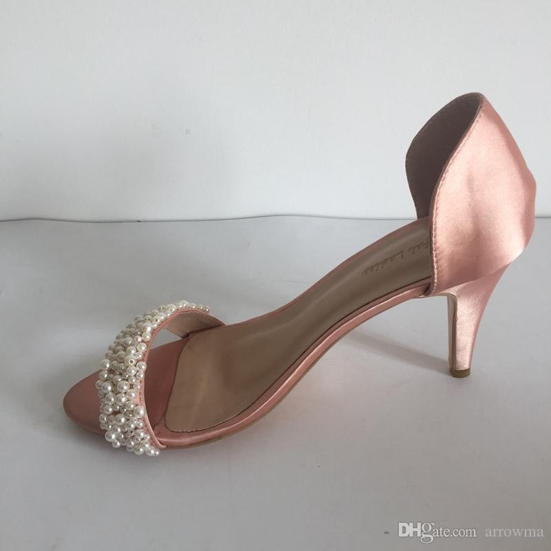 Yeni Inciler Düğün Ayakkabı Gelin Aksesuarları Için Boncuk Ucuz Sandalet Derin Champange Koni Topuk Yaz Tarzı Ucuz Mütevazı Artı Boyutu Gelin