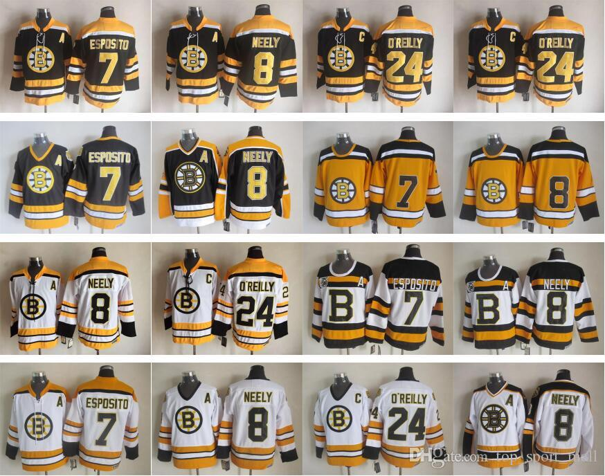 ccc2eb574 Boston Bruins 7 Phil Esposito Jersey Men 8 Cam Neely 24 Terry O Reilly Ice  Hockey Jerseys 75th Vintage CCM Black White Top Quality UK 2019 From ...