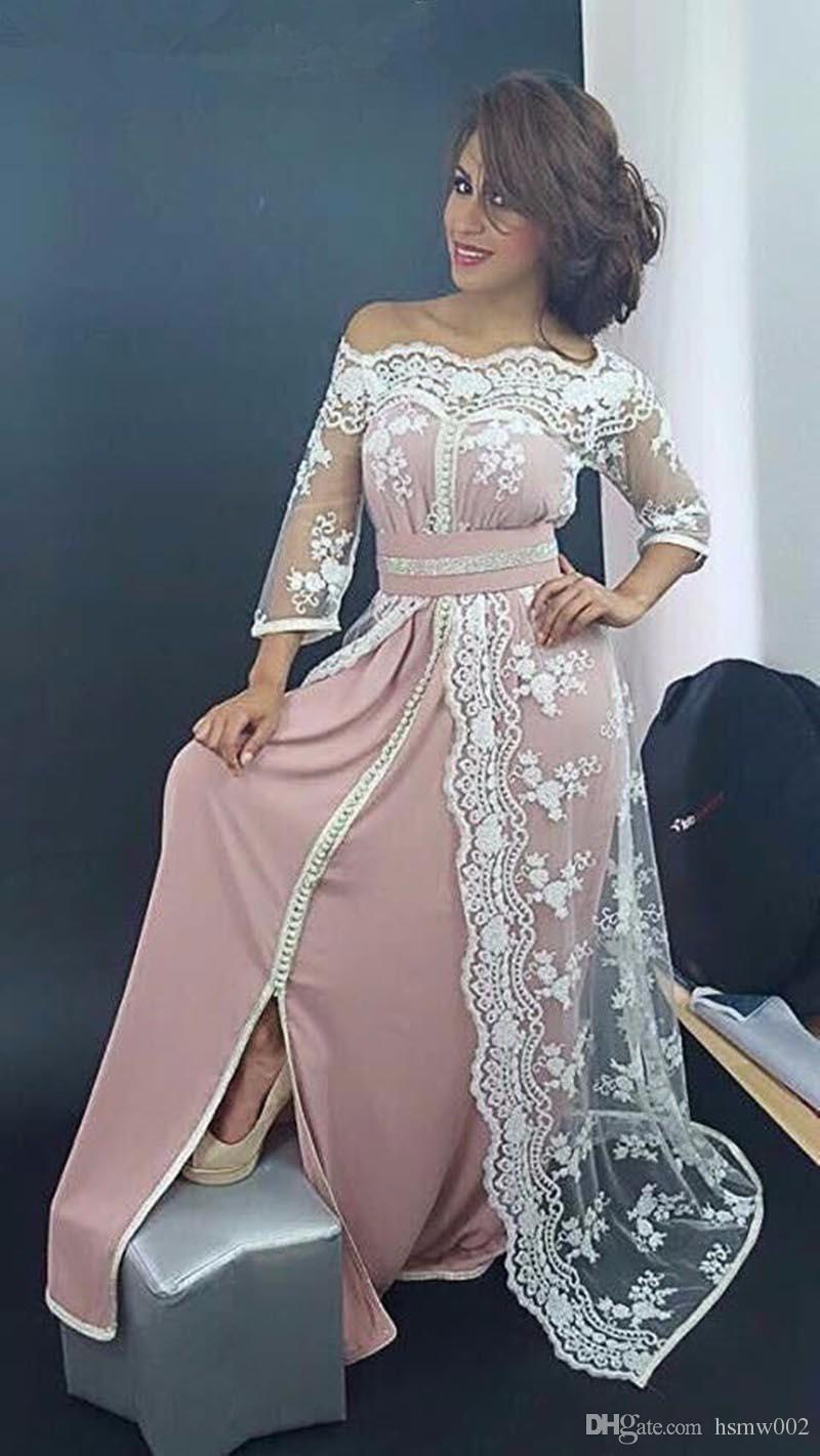 Elegante barco cuello encaje musulmán vestidos largos de noche Dubai Kaftan marroquí vestido de tres cuartos vestido de fiesta de la manga Muestra Real vestidos de fiesta
