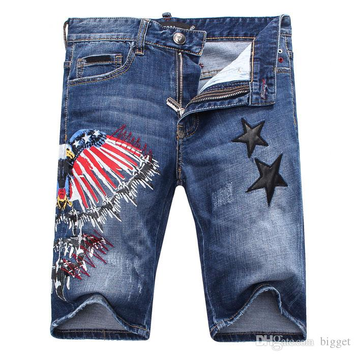 Embroidery Stars Eagle Stitch Detailed Embroidey Air Force Letter Distressed Faded Denim Shorts Man Skull Short Jeans