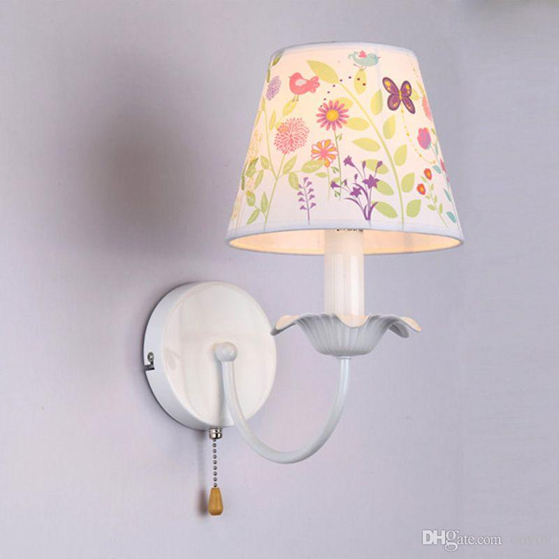 Simple Fabric Tall Wall Light: 2019 Child Room Fabric Flowers Wall Lamp Simple Bedroom