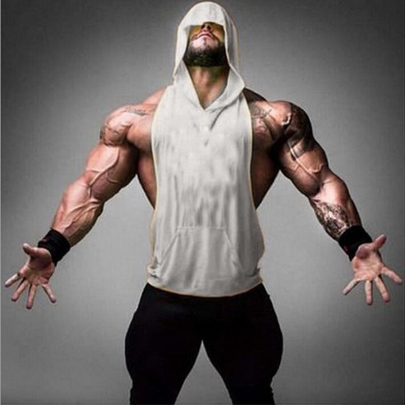 daef05b519ec3 Wholesale- Mens Stringer Hoodie Tank Top Bodybuilding Gymnasium ...