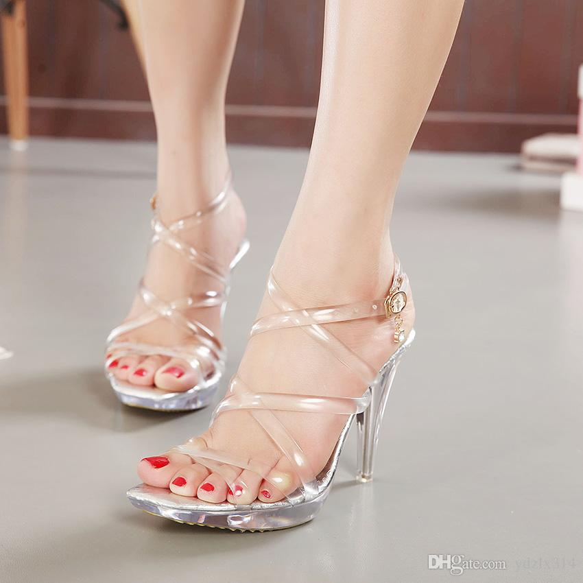 New Summer Gladiator Sandals Women Stripper Shoes Sexy 10.5 CM High Clear  Heels Sandals Platform Jelly Transparent Dress Party Pumps Wedge Heels Pink  Shoes ...