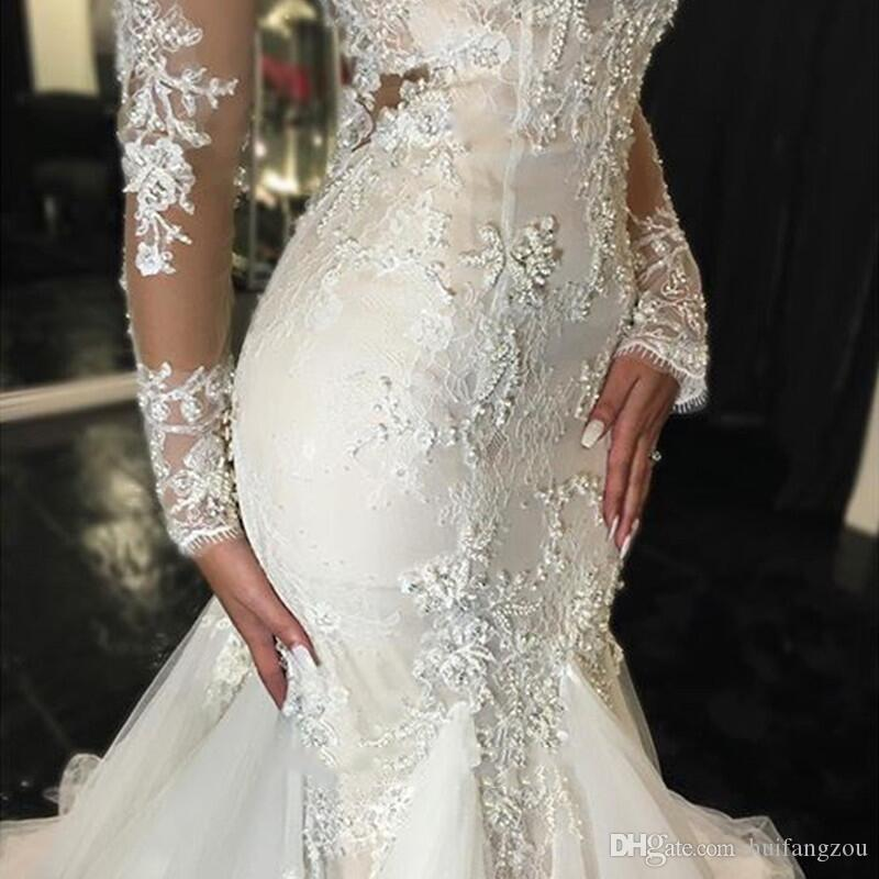 Vintage Mermaid Wedding Dresses Long Sleeves Lace Appliques Beaded Wedding Gowns Sweep Train Jewel Bridal Gowns